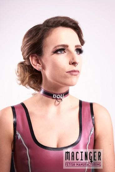 Schmales Halsband mit D-Ring und individuellem Strass Schriftzug, zweifarbig, mit Strass 'casual' -
