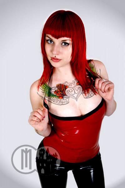 Latex Summer Top - MACINGER (Farbe: Rot, Grösse: S, Kontrastfarbe: Schwarz)